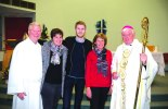 NEW VOCATION: (L to R) Tim Grauel, daughter Hannah, son Dennis, wife Carrie and Bishop of Port Pirie Greg O'Kelly SJ at the candidacy Mass in July 2015.