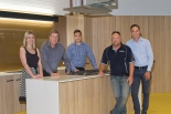 Caption: TOP SHELF: From left: Melanie Colegate and Peter McCabe with Partek's Lawrence Labrosciano, project administrator, Chris Herd, site manager, and Brenton Lunn, managing director.